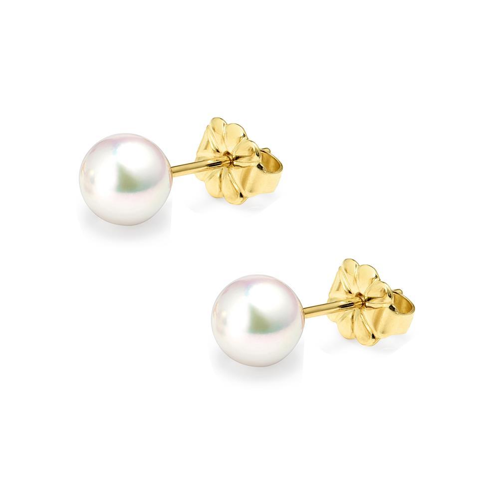 18ct Yellow Gold Akoya AAA Grade Pearl Stud Earrings 6.0mm Thumbnail Image 0