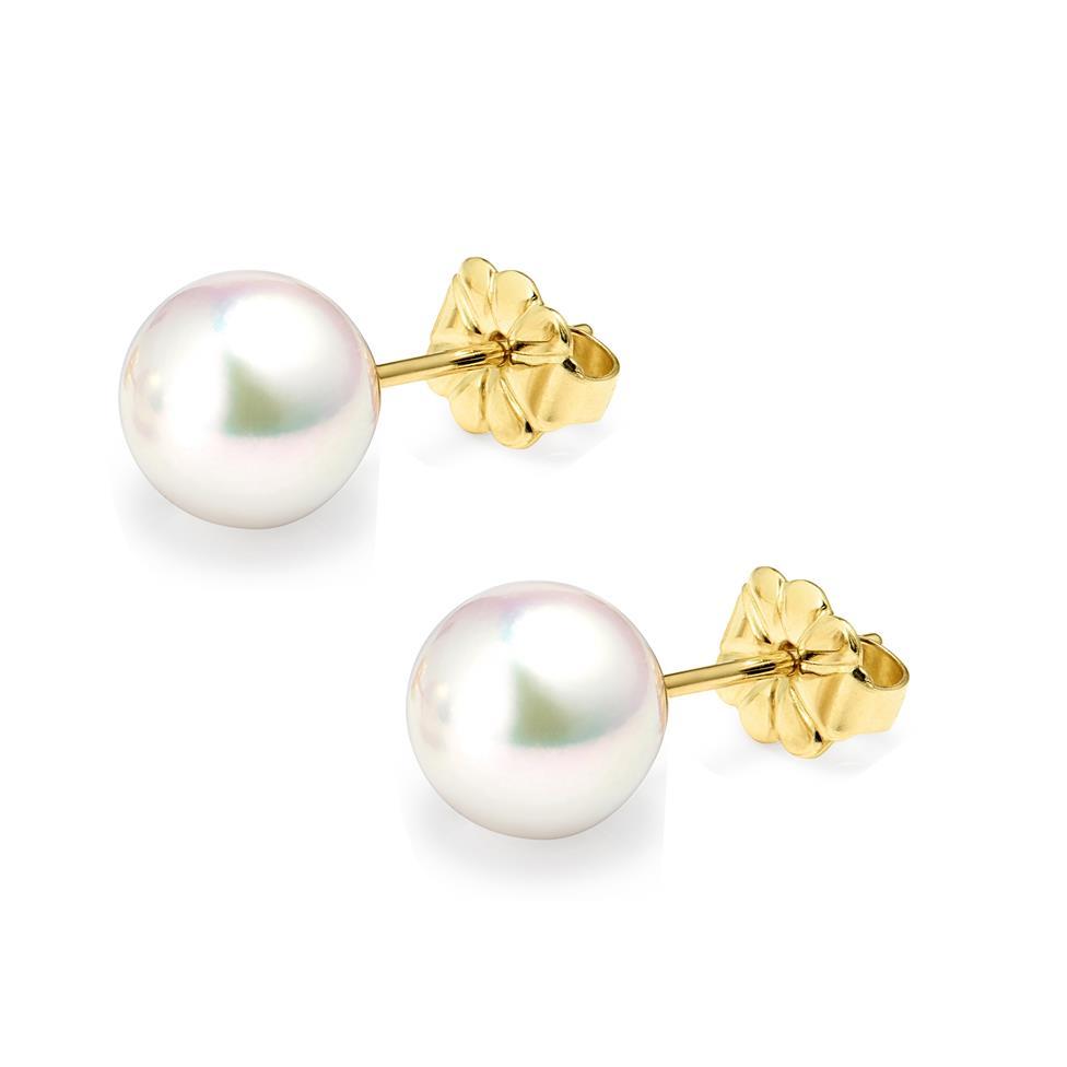 18ct Yellow Gold Akoya AAA Grade Pearl Stud Earrings 8.0mm Thumbnail Image 0