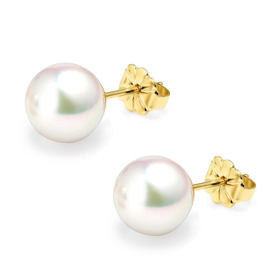 18ct Yellow Gold Akoya AAA Grade Pearl Stud Earrings 8.5mm Thumbnail Image 0