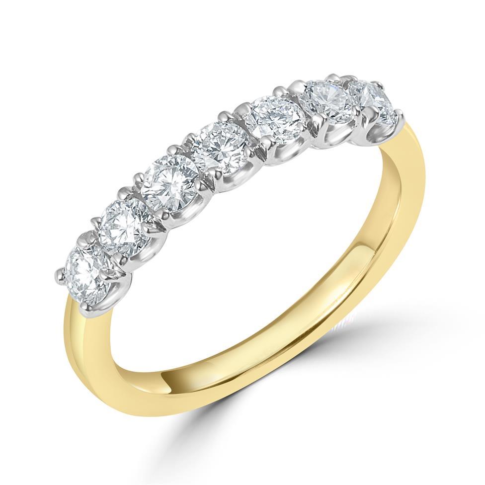 18ct Yellow Gold Diamond Seven Stone Eternity Ring 0.70ct Thumbnail Image 0