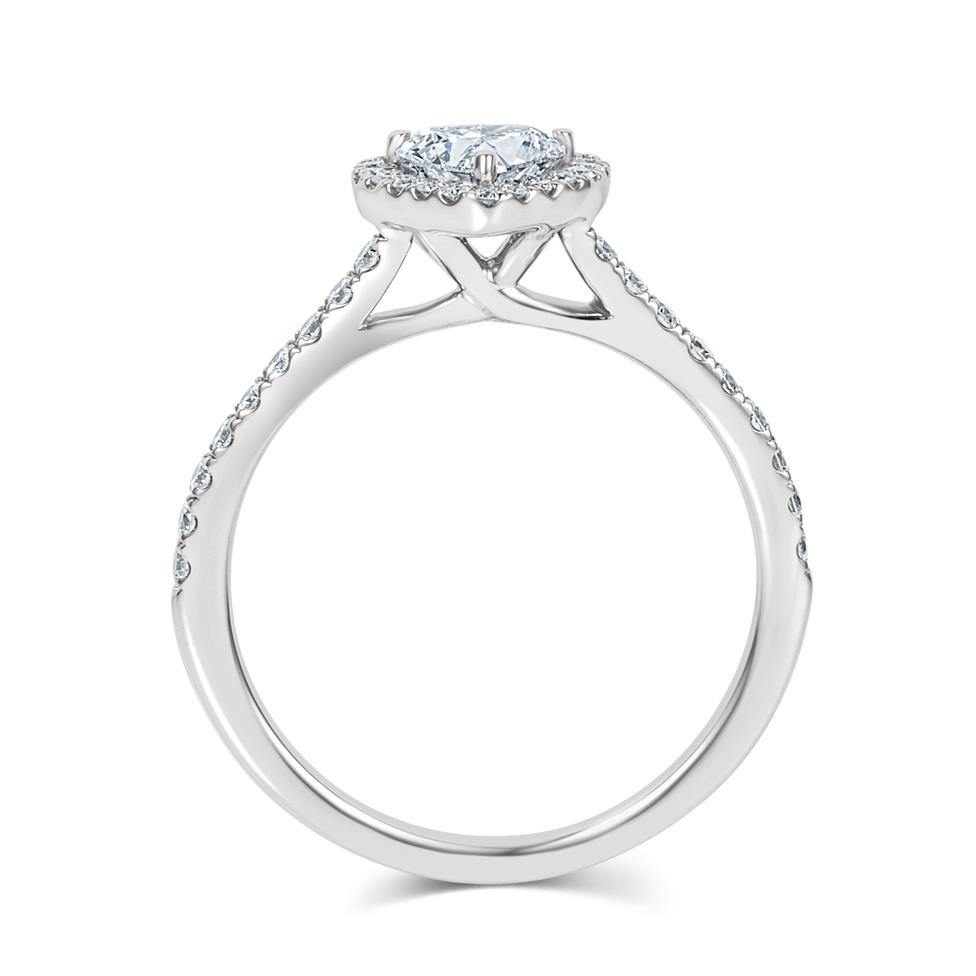 Platinum Heart Shape Diamond Halo Engagement Ring 0.85ct Thumbnail Image 2