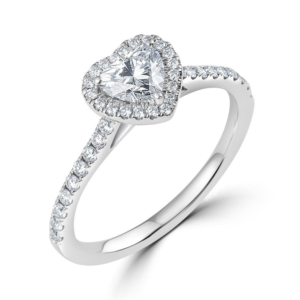 Platinum Heart Shape Diamond Halo Engagement Ring 0.85ct Thumbnail Image 0