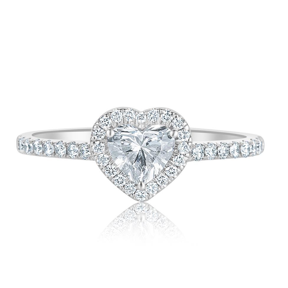 Platinum Heart Shape Diamond Halo Engagement Ring 0.85ct Thumbnail Image 1