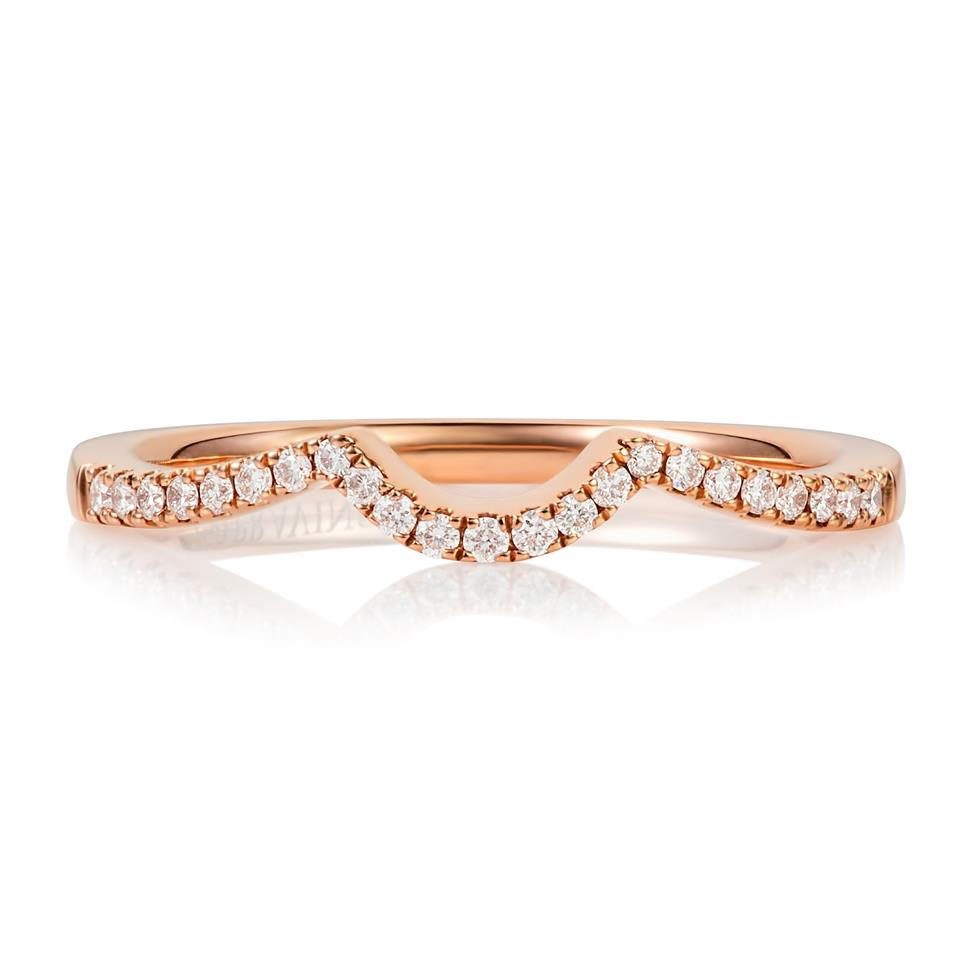 18ct Rose Gold U-Shaped Diamond Band Image 1