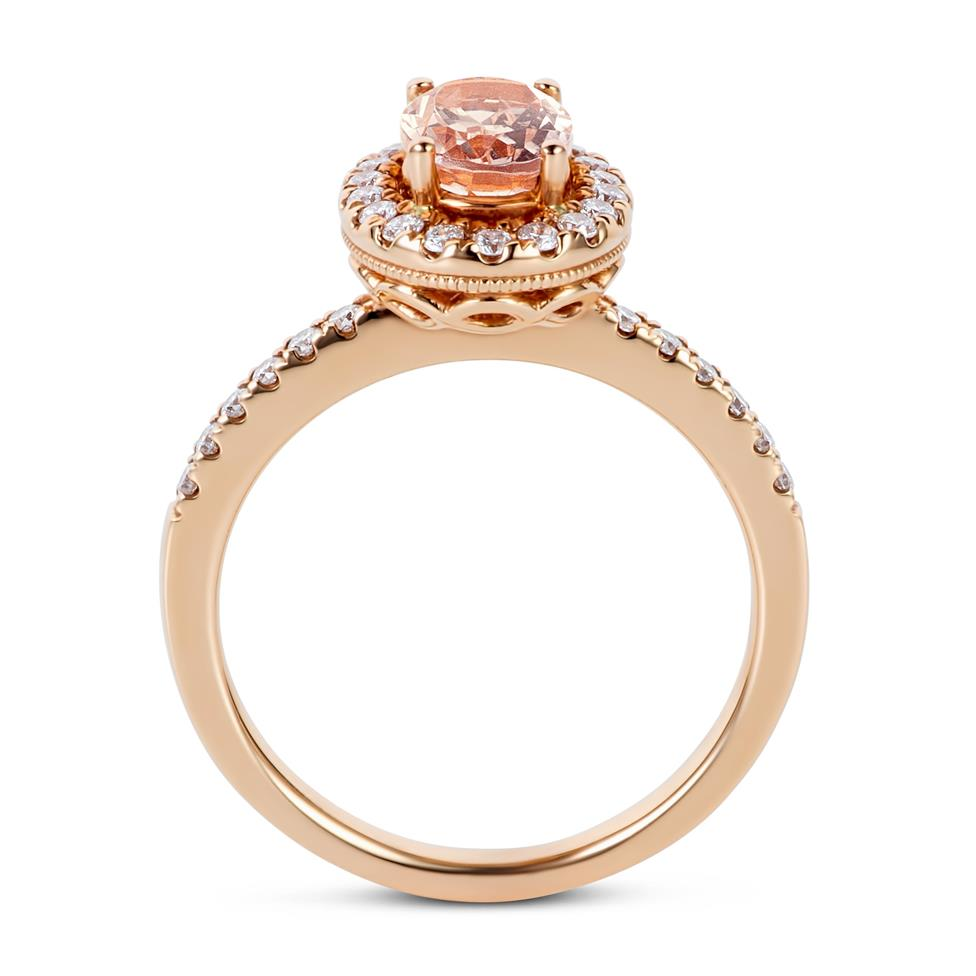 18ct Rose Gold Morganite Halo Ring  Thumbnail Image 3