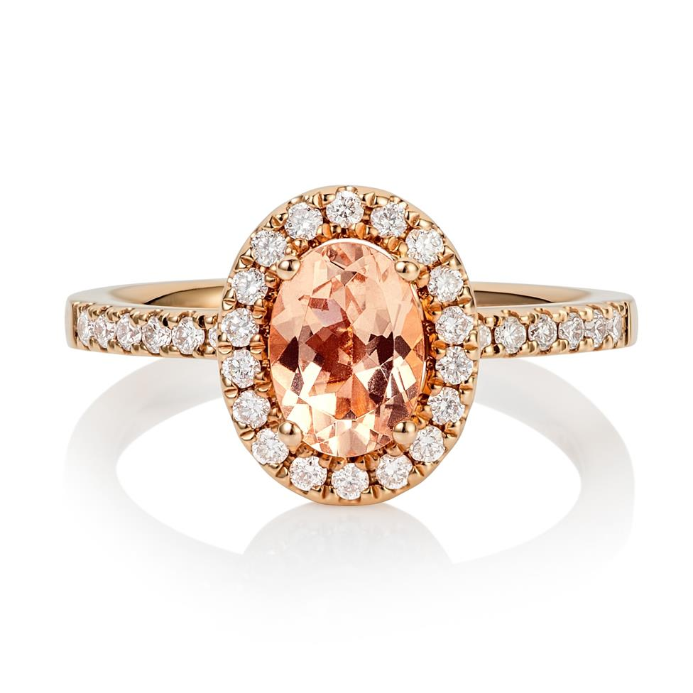 18ct Rose Gold Morganite Halo Ring  Thumbnail Image 0