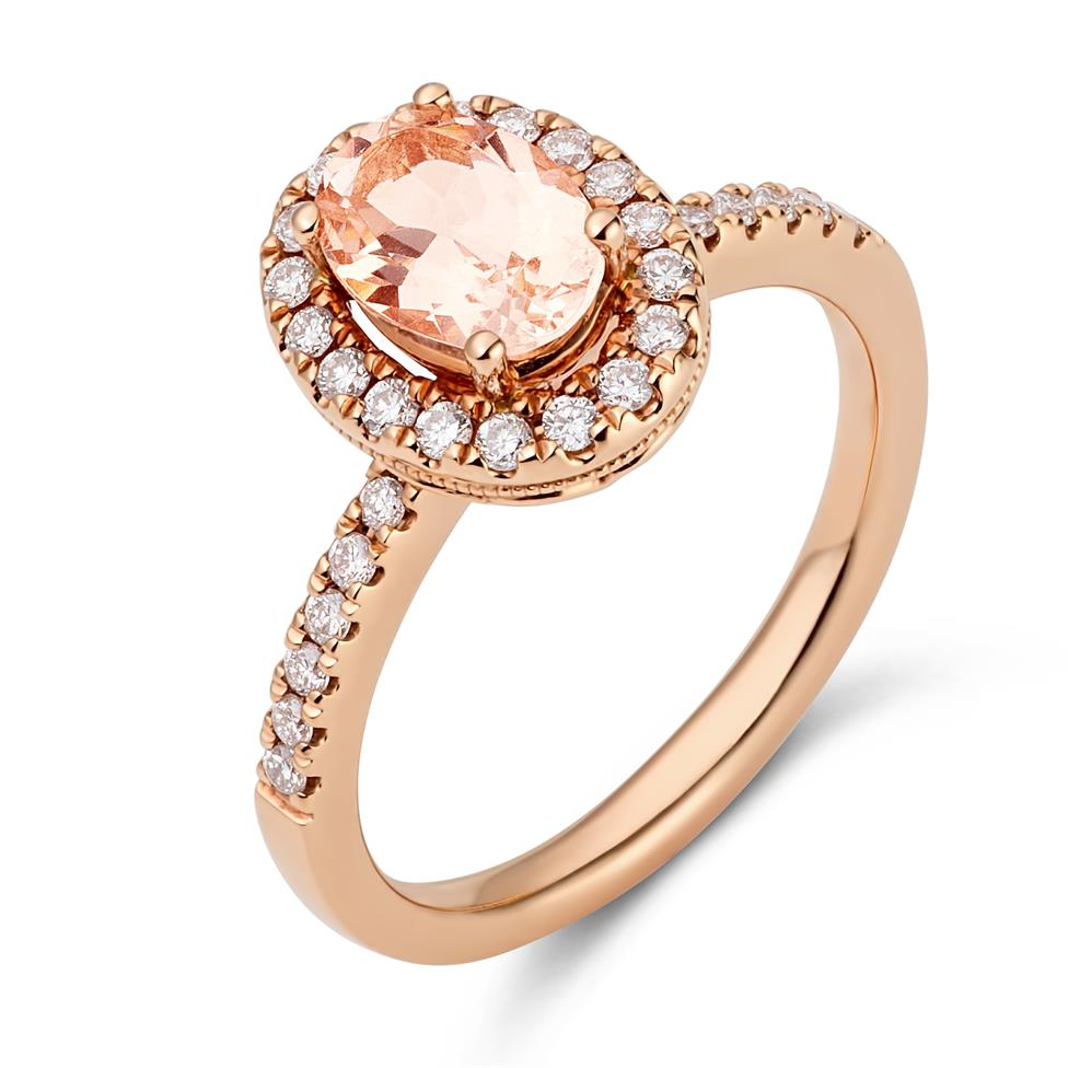 18ct Rose Gold Morganite Halo Ring  Thumbnail Image 2