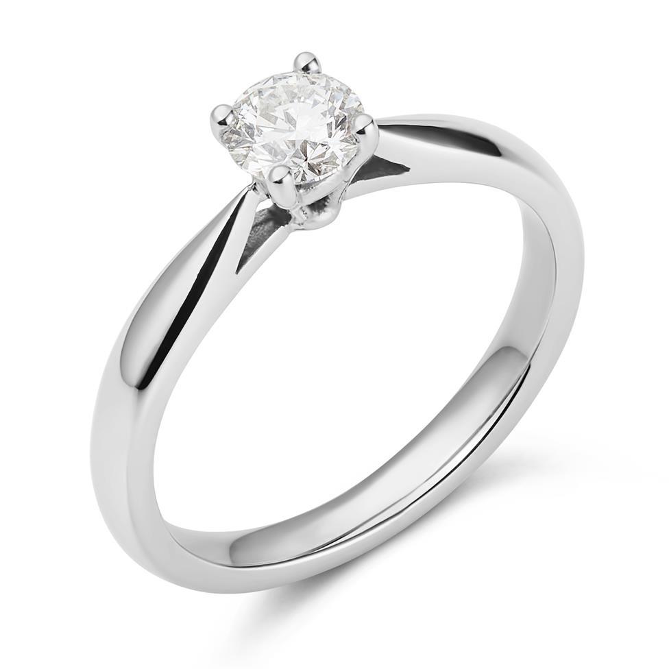 Platinum Classic Design Diamond Solitaire Engagement Ring 0.40ct Thumbnail Image 0