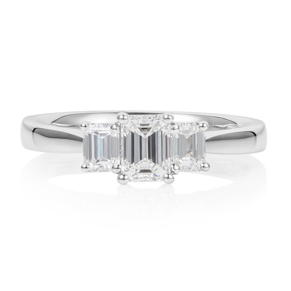 Platinum Emerald Cut Diamond Three Stone Engagement Ring 0.95ct Thumbnail Image 2