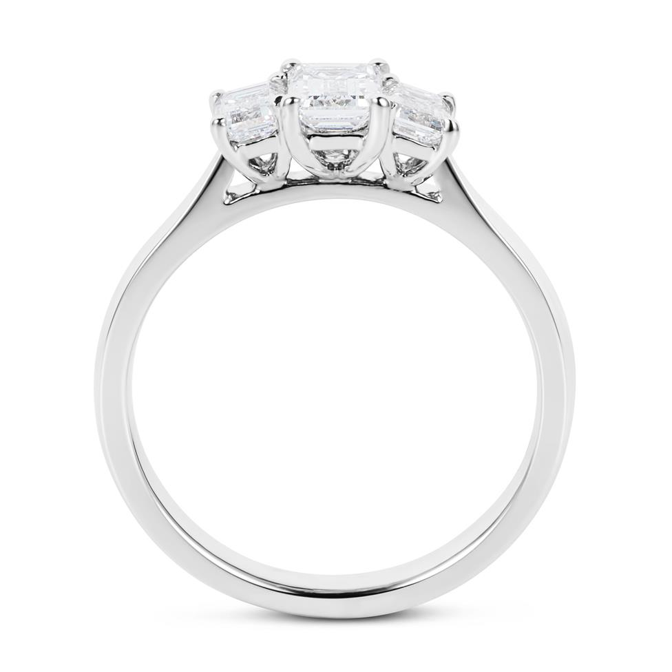 Platinum Emerald Cut Diamond Three Stone Engagement Ring 0.95ct Thumbnail Image 3