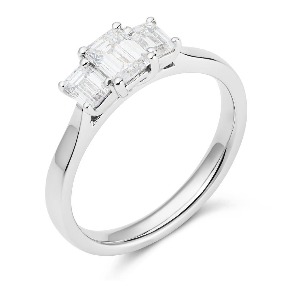 Platinum Emerald Cut Diamond Three Stone Engagement Ring 0.95ct Thumbnail Image 0