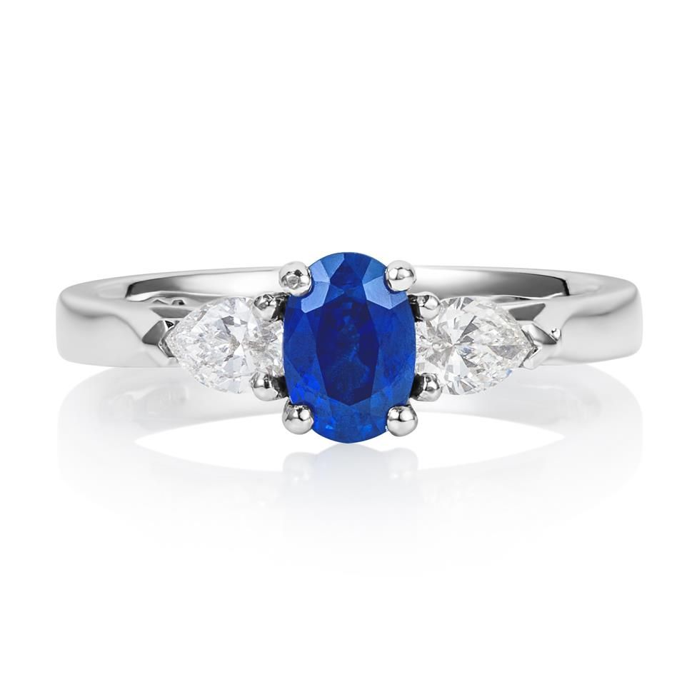 Platinum Oval Sapphire and Diamond Three Stone Ring Thumbnail Image 0