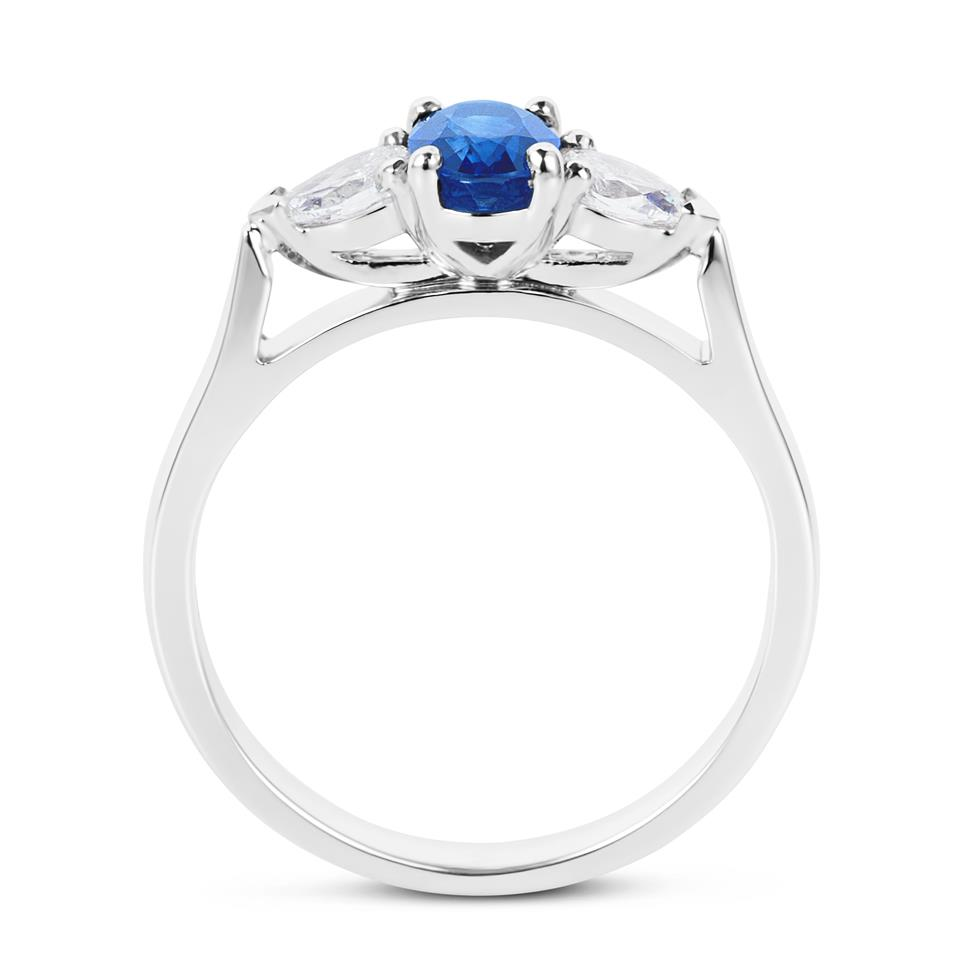 Platinum Oval Sapphire and Diamond Three Stone Ring Thumbnail Image 2