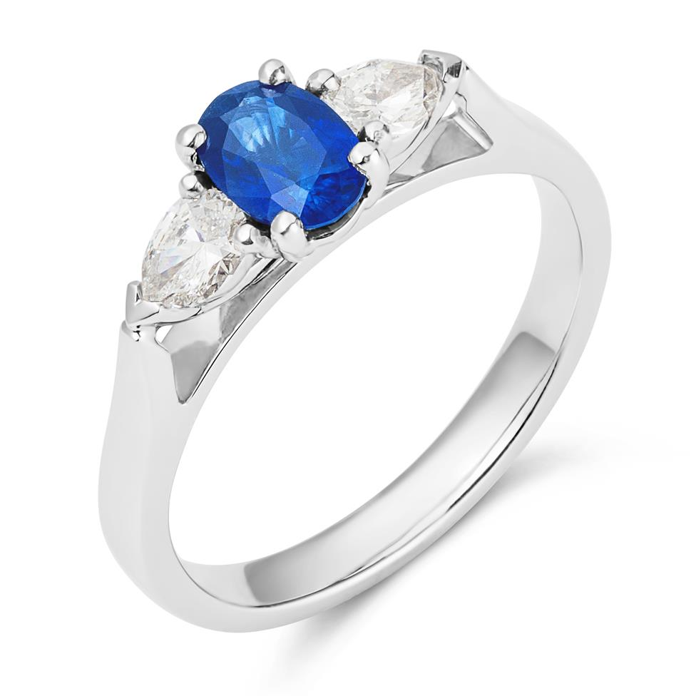 Platinum Oval Sapphire and Diamond Three Stone Ring Thumbnail Image 1