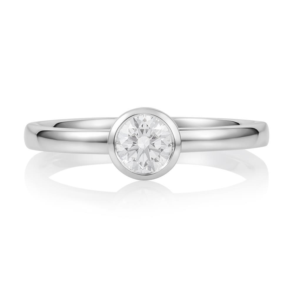 Platinum Rubover Detail Solitaire Diamond Engagement Ring 0.40ct Thumbnail Image 1