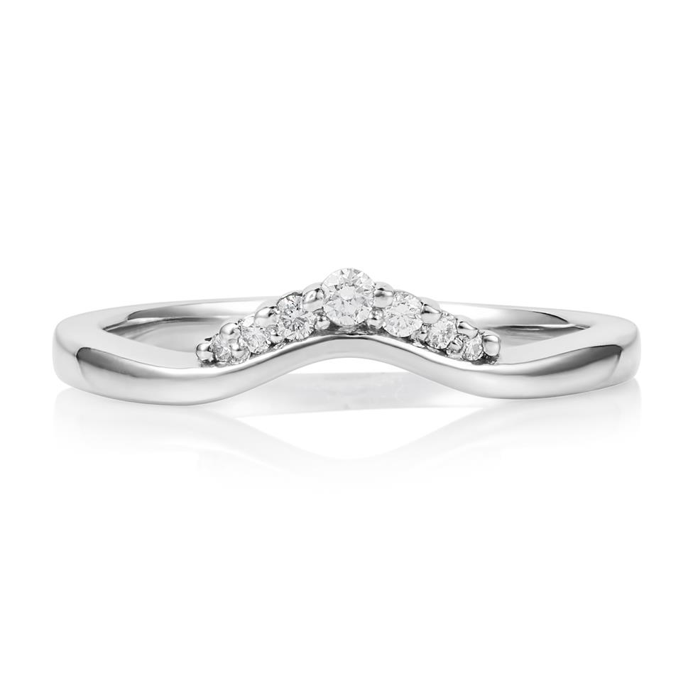 Platinum Diamond Set Shaped Wedding Ring 0.09ct Thumbnail Image 1