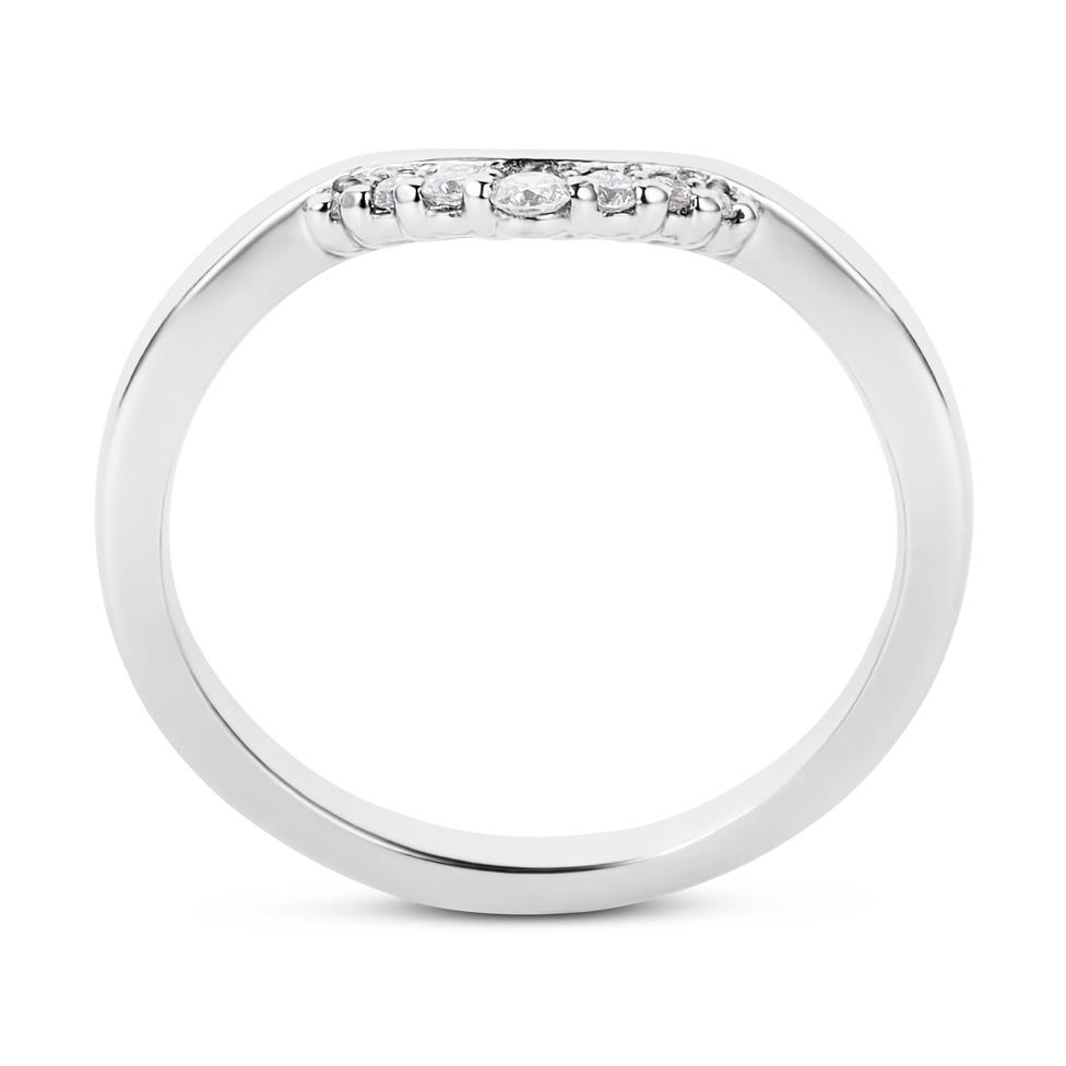 Platinum Diamond Set Shaped Wedding Ring 0.09ct Thumbnail Image 2