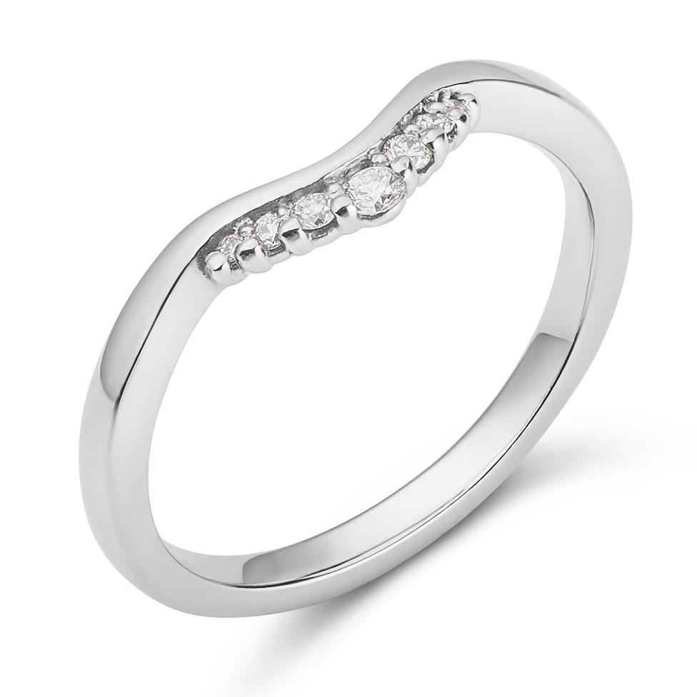 Platinum Diamond Set Shaped Wedding Ring 0.09ct Thumbnail Image 0