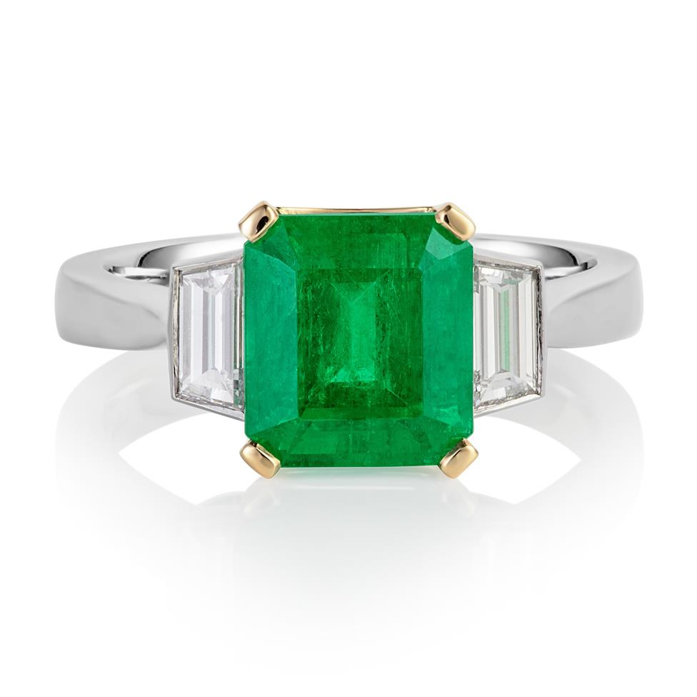 Platinum and 18ct Gold Octagon Cut Emerald and Diamond Three Stone Dress Ring Thumbnail Image 0