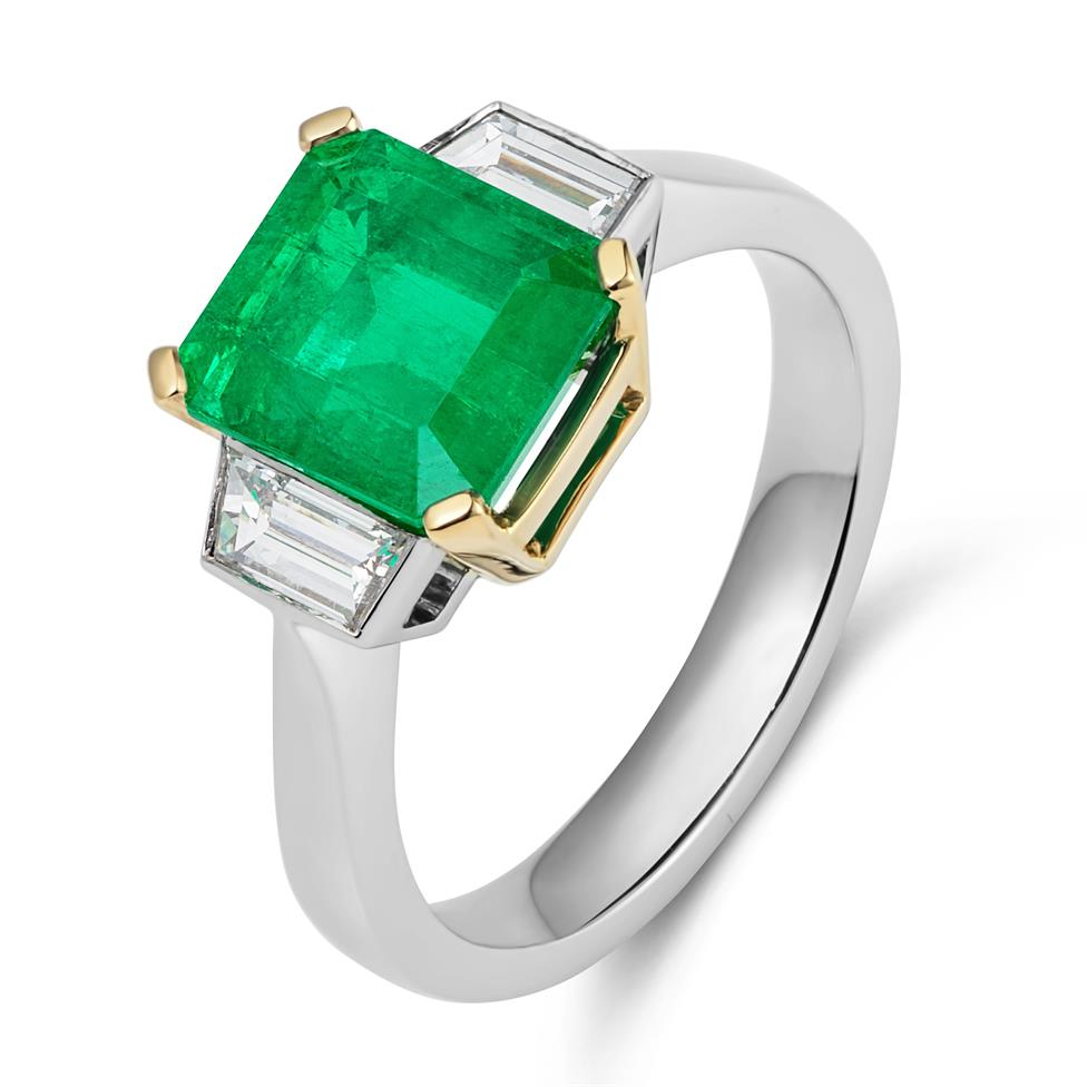 Platinum and 18ct Gold Octagon Cut Emerald and Diamond Three Stone Dress Ring Thumbnail Image 1