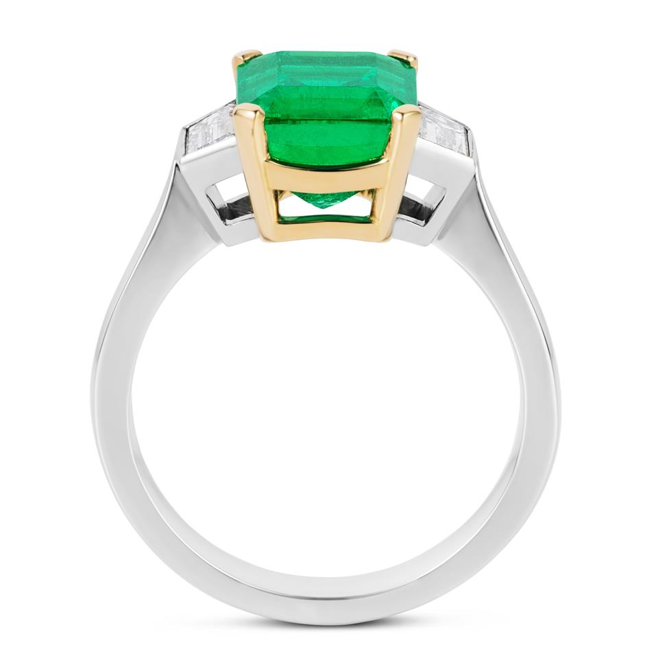 Platinum and 18ct Gold Octagon Cut Emerald and Diamond Three Stone Dress Ring Thumbnail Image 2