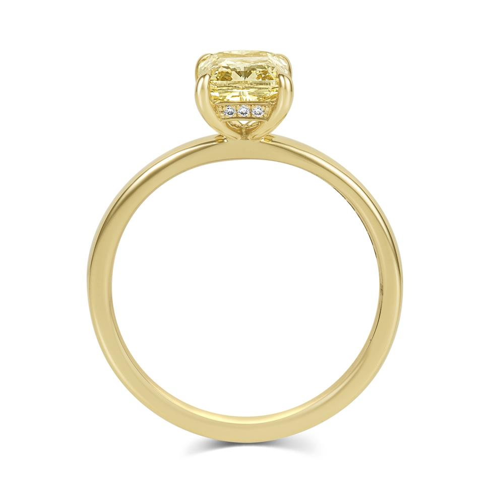 18ct Yellow Gold Cushion Cut Champagne Diamond Solitaire Engagement Ring Thumbnail Image 2