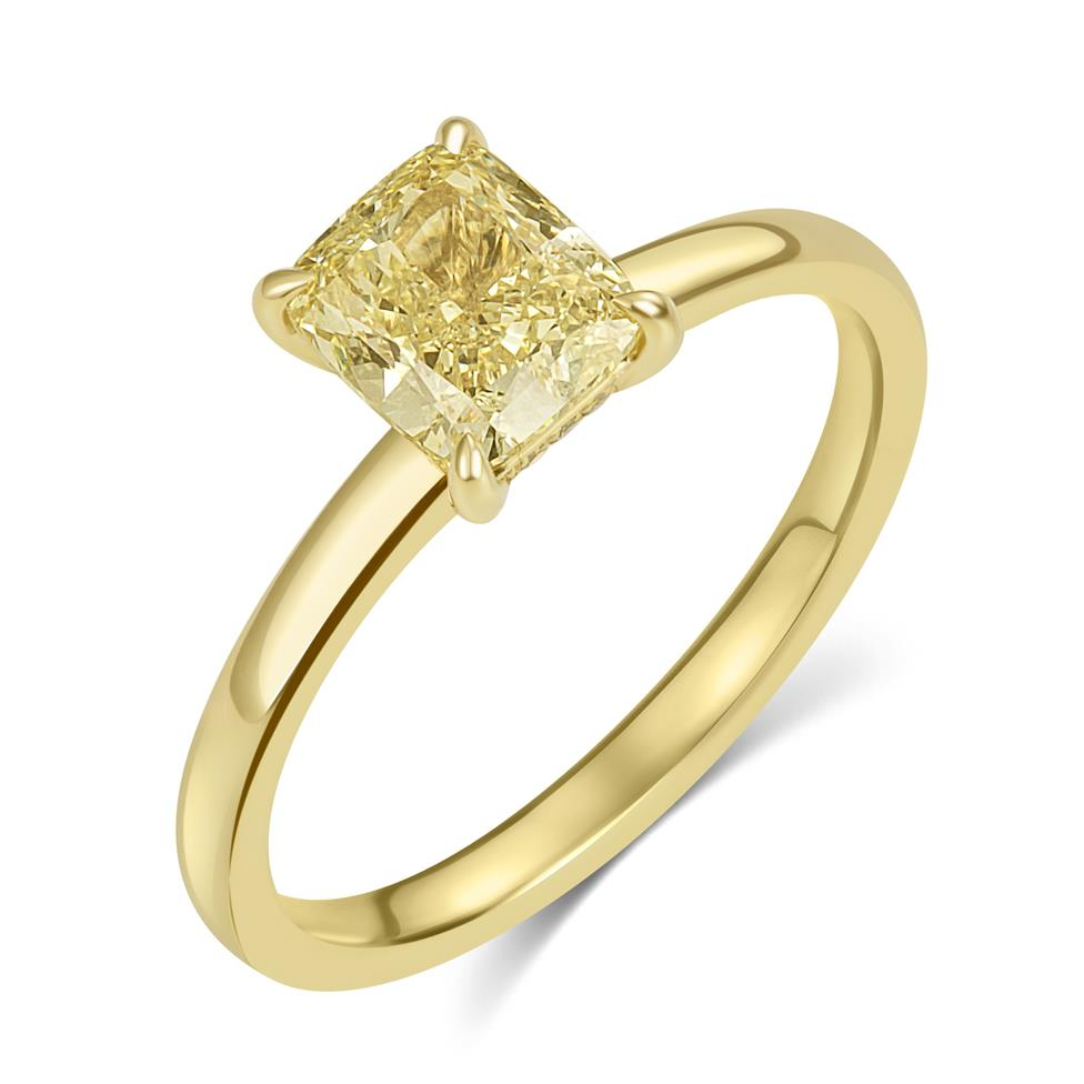 18ct Yellow Gold Cushion Cut Champagne Diamond Solitaire Engagement Ring Thumbnail Image 0