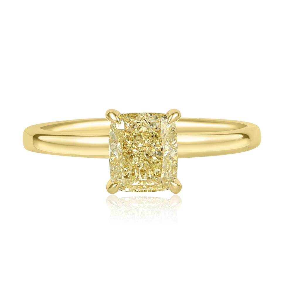 18ct Yellow Gold Cushion Cut Champagne Diamond Solitaire Engagement Ring Thumbnail Image 1