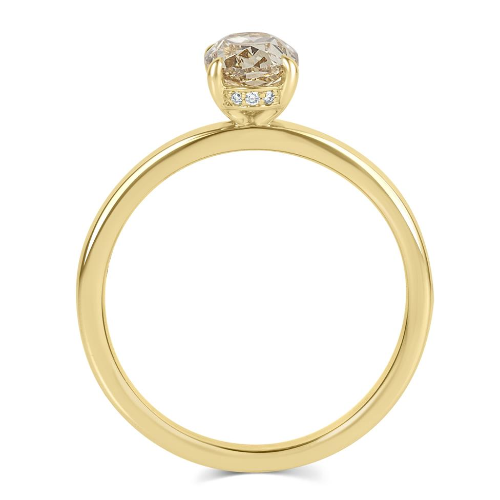 18ct Yellow Gold Oval Champagne Diamond Solitaire Engagement Ring Thumbnail Image 2