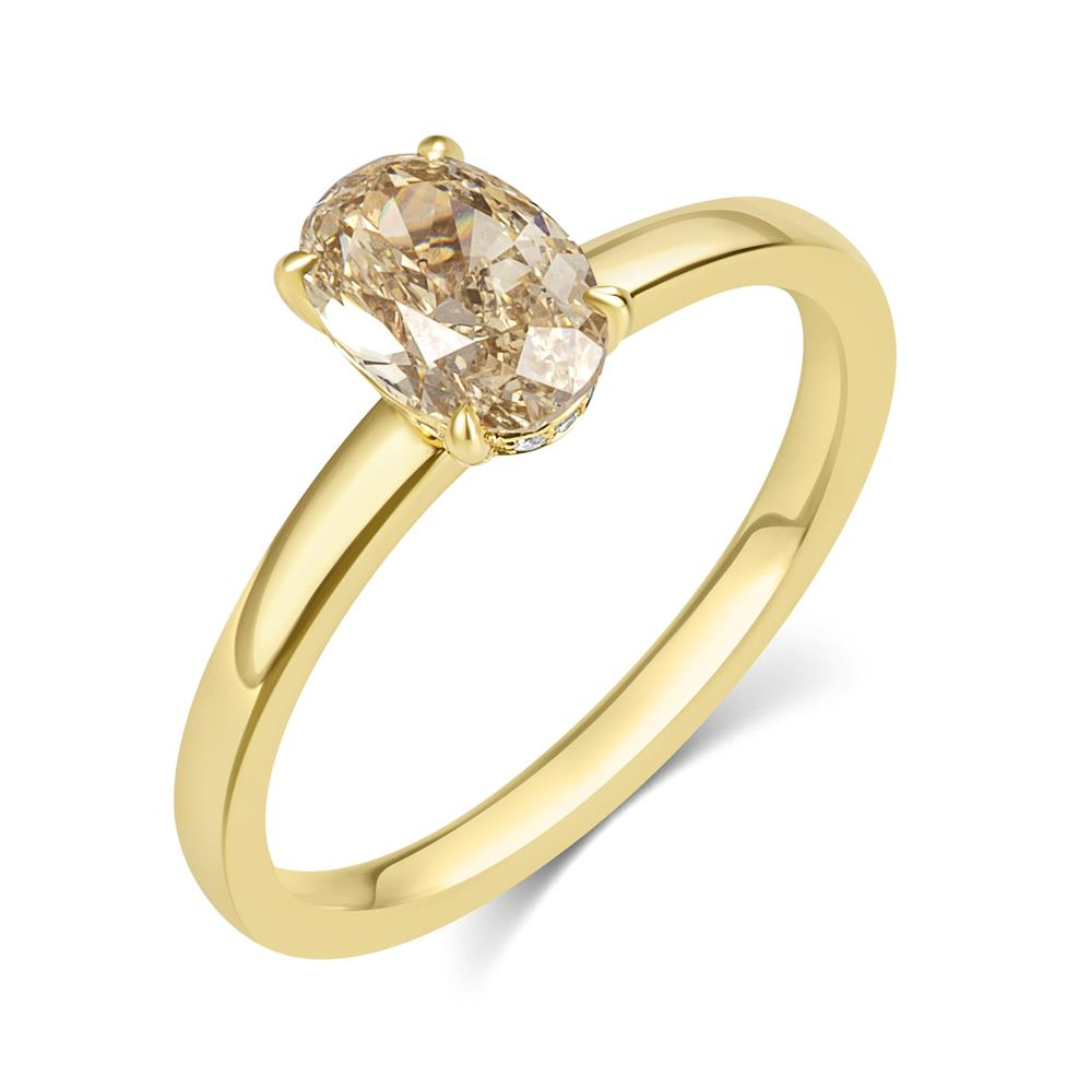 18ct Yellow Gold Oval Champagne Diamond Solitaire Engagement Ring Thumbnail Image 0