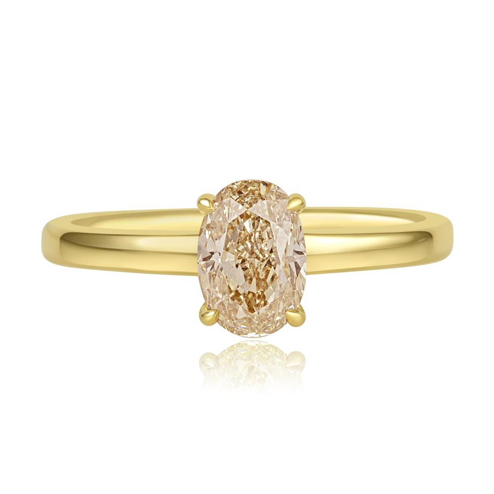18ct Yellow Gold Oval Champagne Diamond Solitaire Engagement Ring Thumbnail Image 1