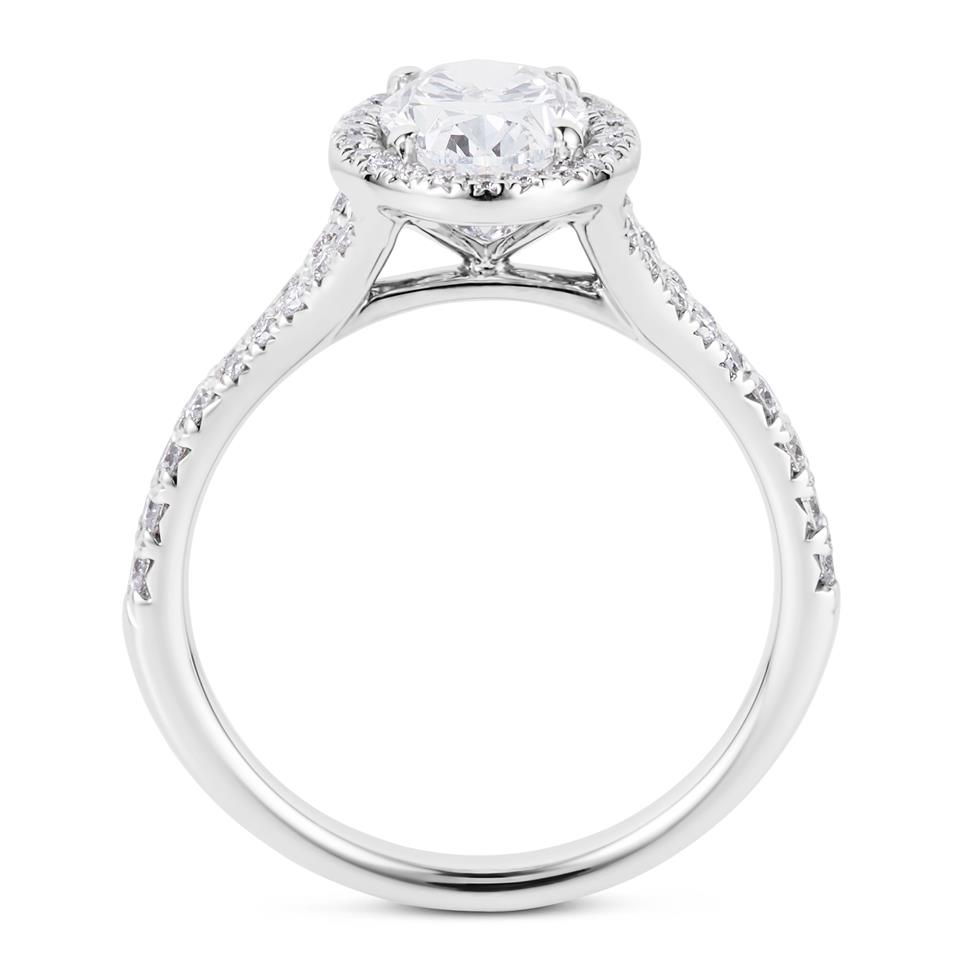 Platinum Oval Diamond Halo Engagement Ring 1.58ct Thumbnail Image 2