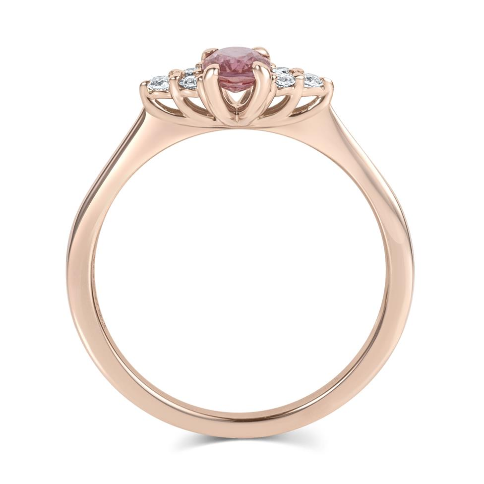 18ct Rose Gold Oval Padparadscha Sapphire and Diamond Engagement Ring Thumbnail Image 2