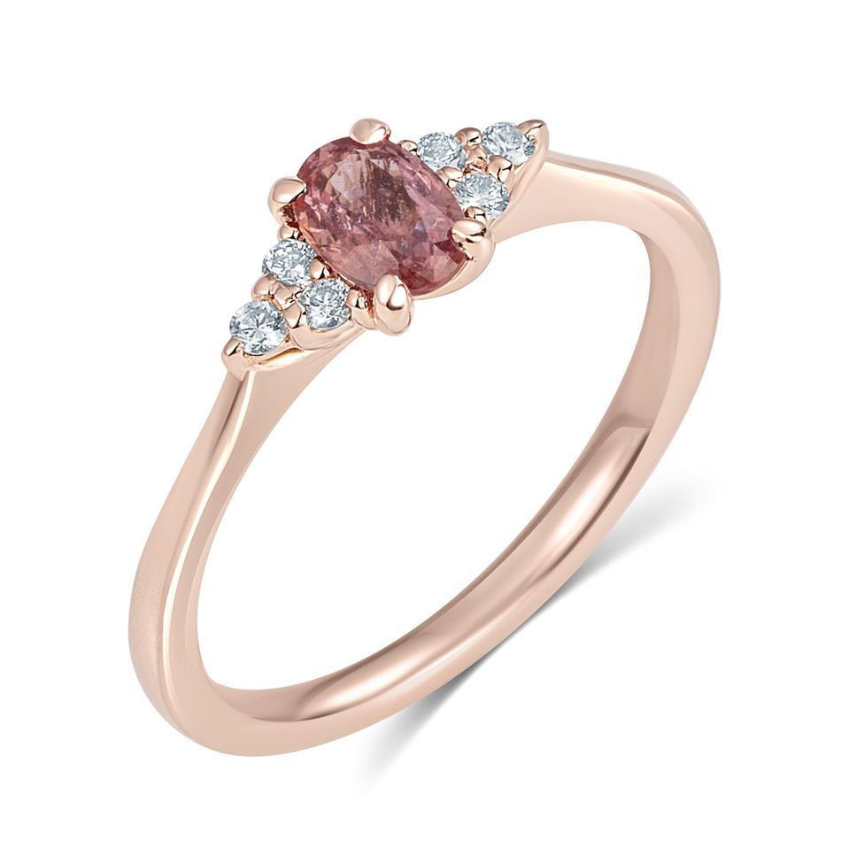 18ct Rose Gold Oval Padparadscha Sapphire and Diamond Engagement Ring Thumbnail Image 0
