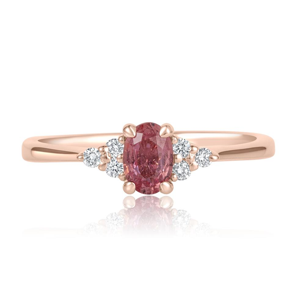 18ct Rose Gold Oval Padparadscha Sapphire and Diamond Engagement Ring Thumbnail Image 1
