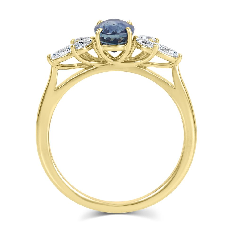 18ct Yellow Gold Oval Montana Teal Sapphire and Marquise Diamond Engagement Ring Thumbnail Image 2