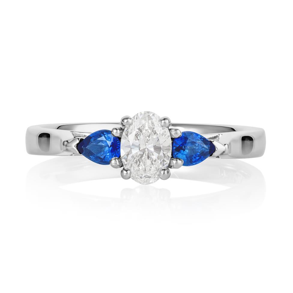 Platinum Oval Diamond and Pear Shape Sapphire Three Stone Engagement Ring Thumbnail Image 1