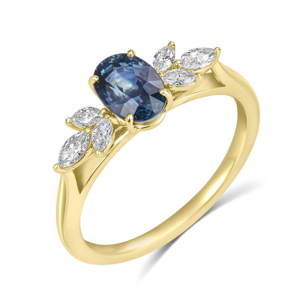 18ct Yellow Gold Oval Montana Teal Sapphire and Marquise Diamond Engagement Ring Thumbnail Image 0
