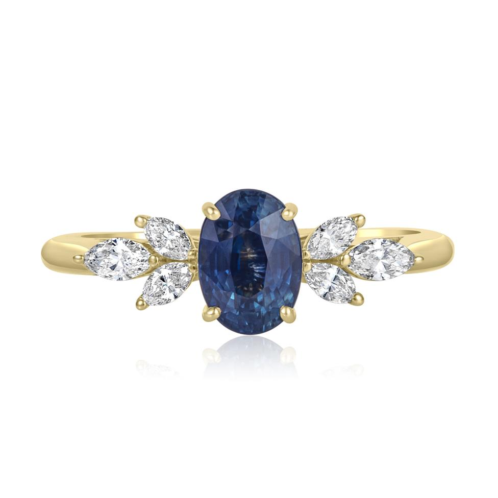18ct Yellow Gold Oval Montana Teal Sapphire and Marquise Diamond Engagement Ring Thumbnail Image 1
