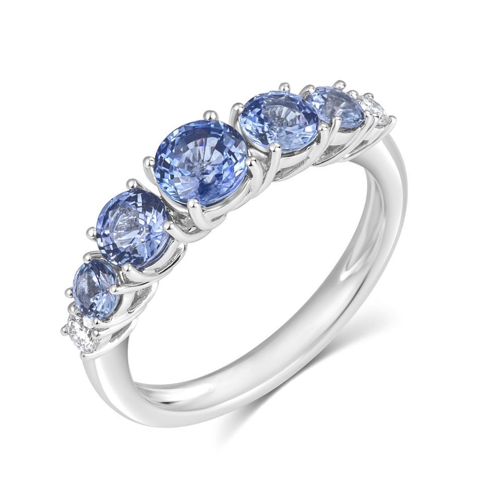 Bonbon 18ct White Gold Sapphire and Diamond Dress Ring Thumbnail Image 0
