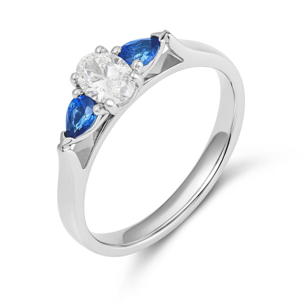 Platinum Oval Diamond and Pear Shape Sapphire Three Stone Engagement Ring Thumbnail Image 0