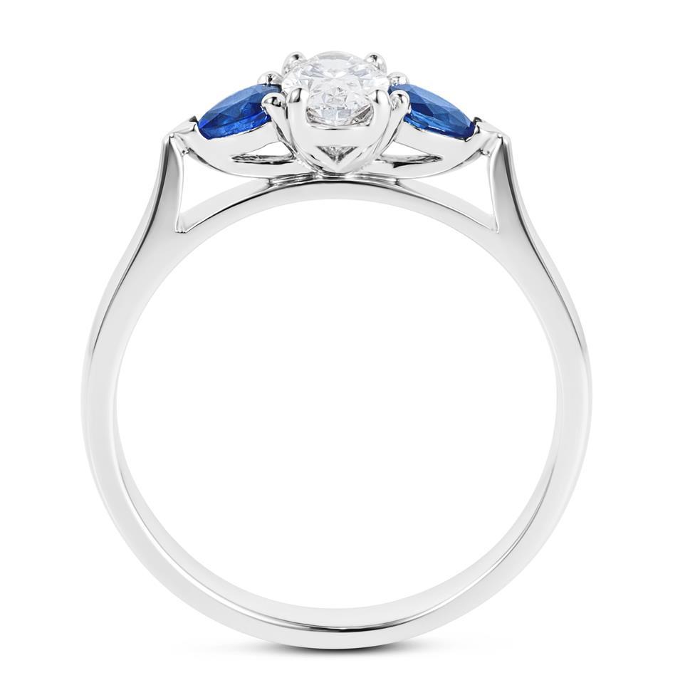 Platinum Oval Diamond and Pear Shape Sapphire Three Stone Engagement Ring Thumbnail Image 2
