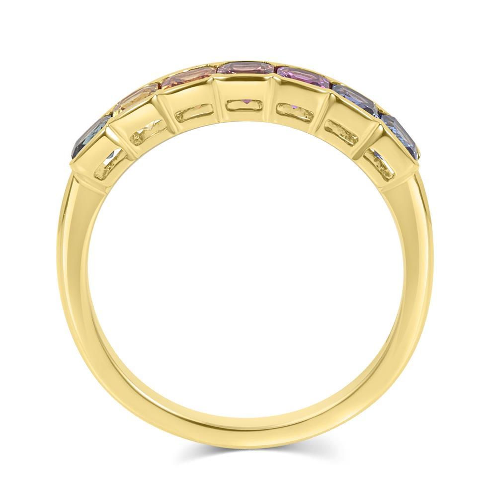 Samba 18ct Yellow Gold Rainbow Sapphire Half Eternity Ring Thumbnail Image 2