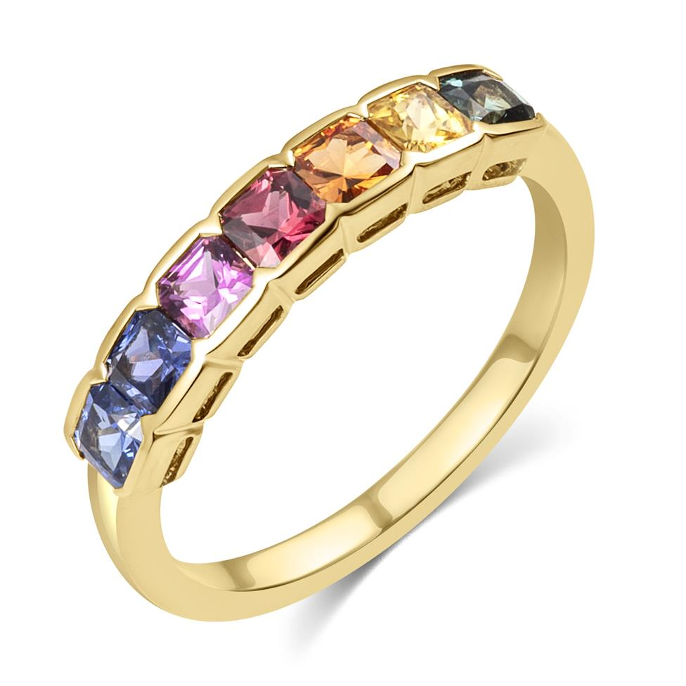 Samba 18ct Yellow Gold Rainbow Sapphire Half Eternity Ring Thumbnail Image 0