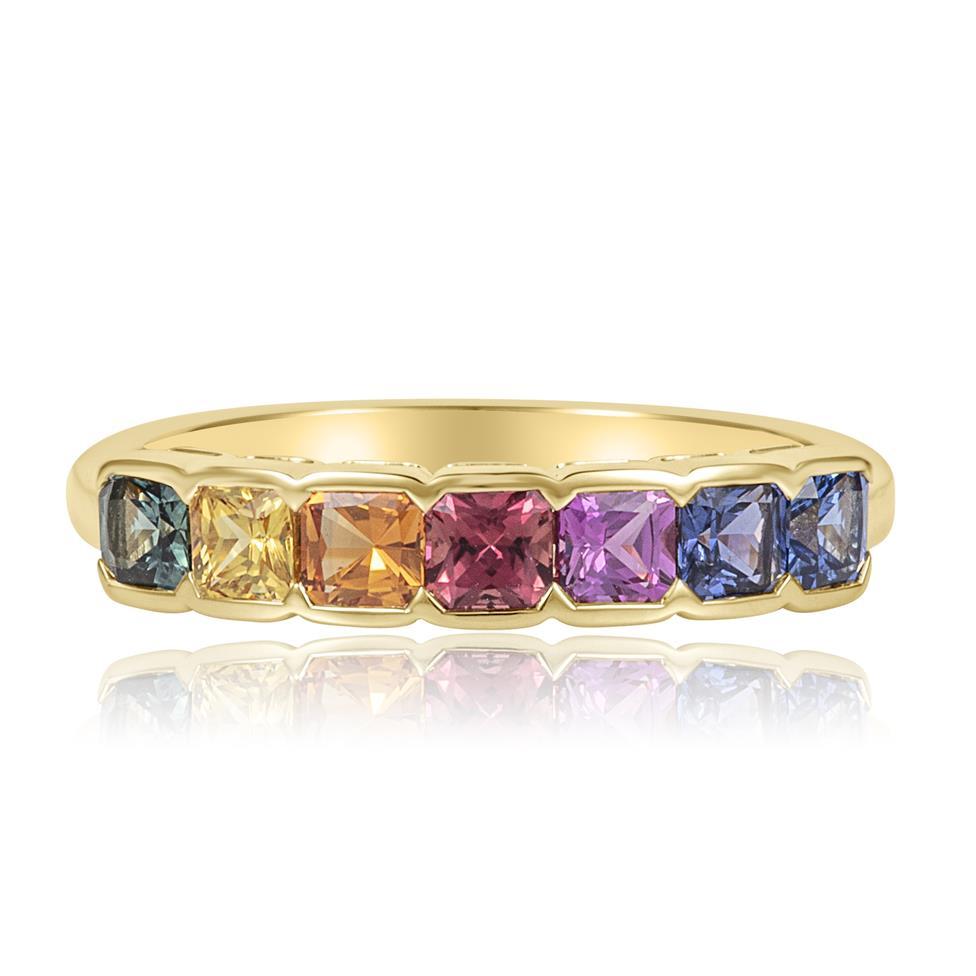 Samba 18ct Yellow Gold Rainbow Sapphire Half Eternity Ring Thumbnail Image 1