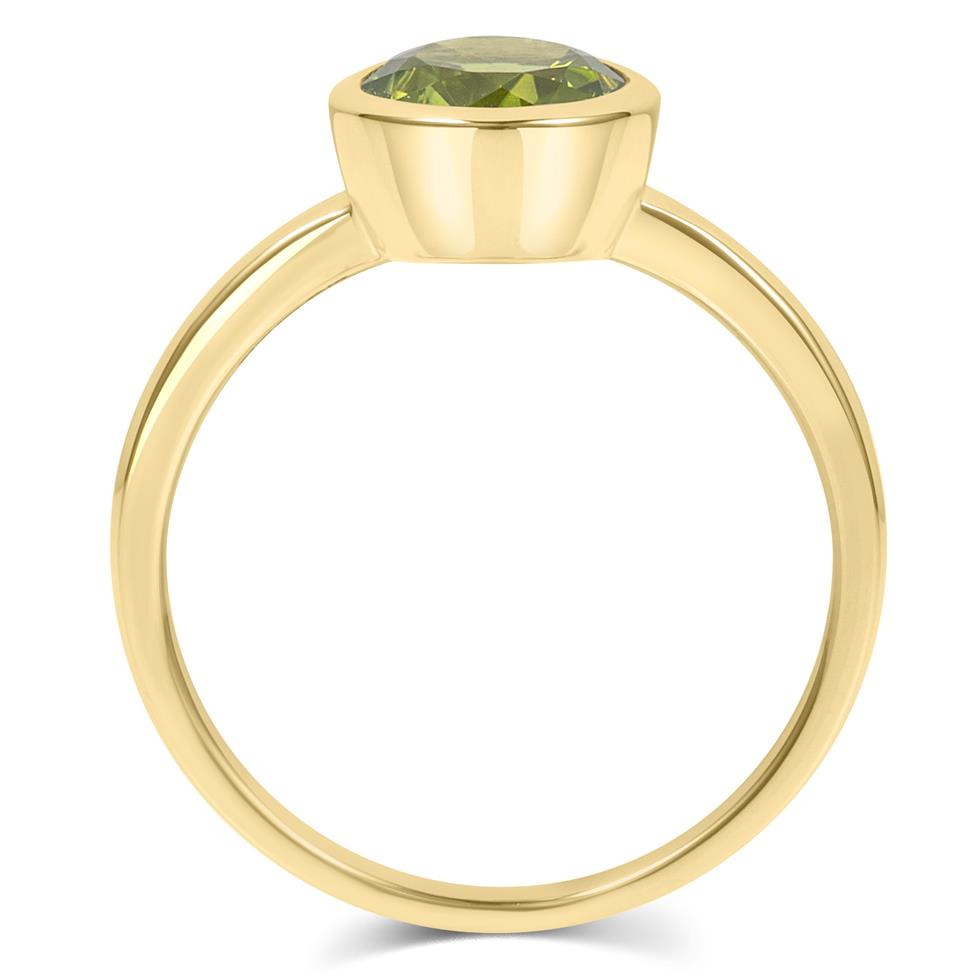 18ct Yellow Gold Peridot Rubover Dress Ring Thumbnail Image 3
