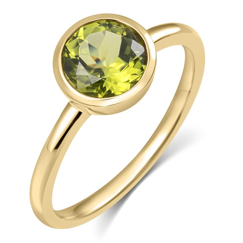 18ct Yellow Gold Peridot Rubover Dress Ring Thumbnail Image 0
