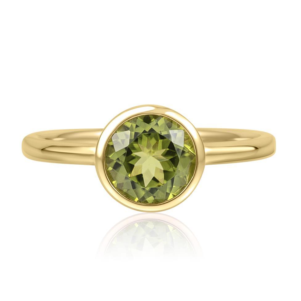 18ct Yellow Gold Peridot Rubover Dress Ring Thumbnail Image 2