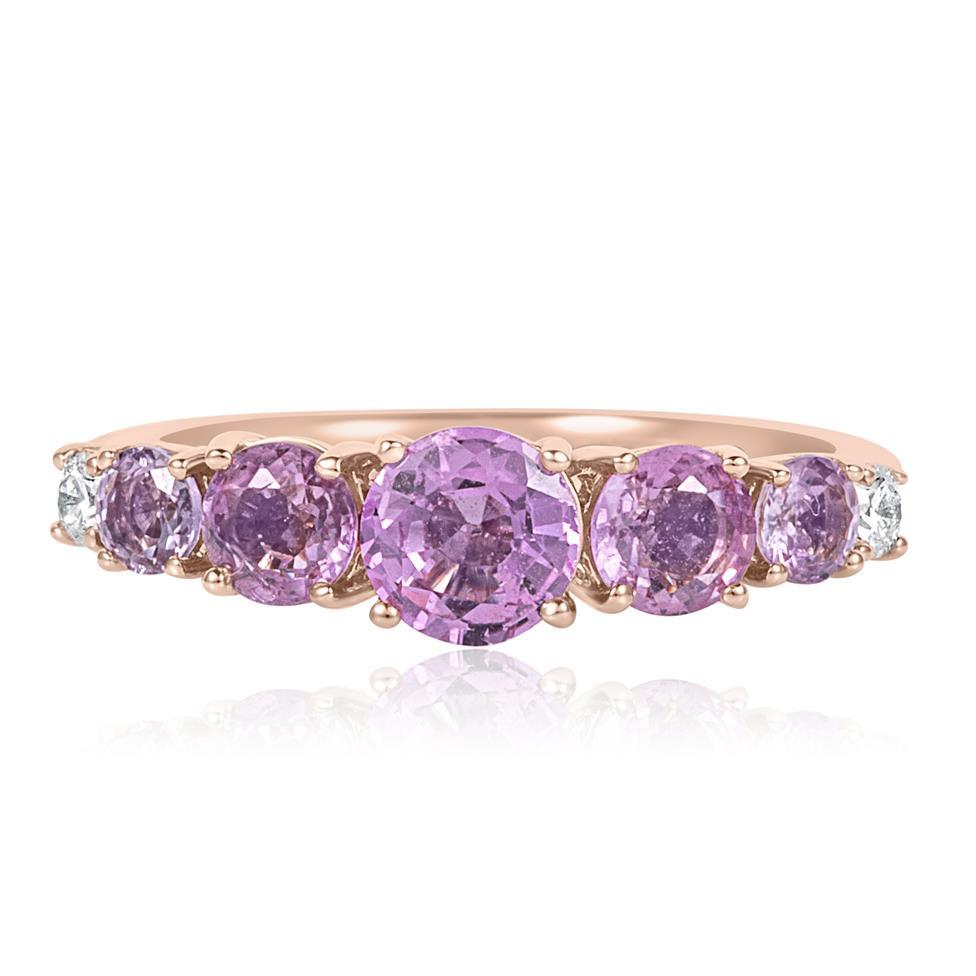 Bonbon 18ct Rose Gold Pink Sapphire and Diamond Dress Ring Thumbnail Image 2