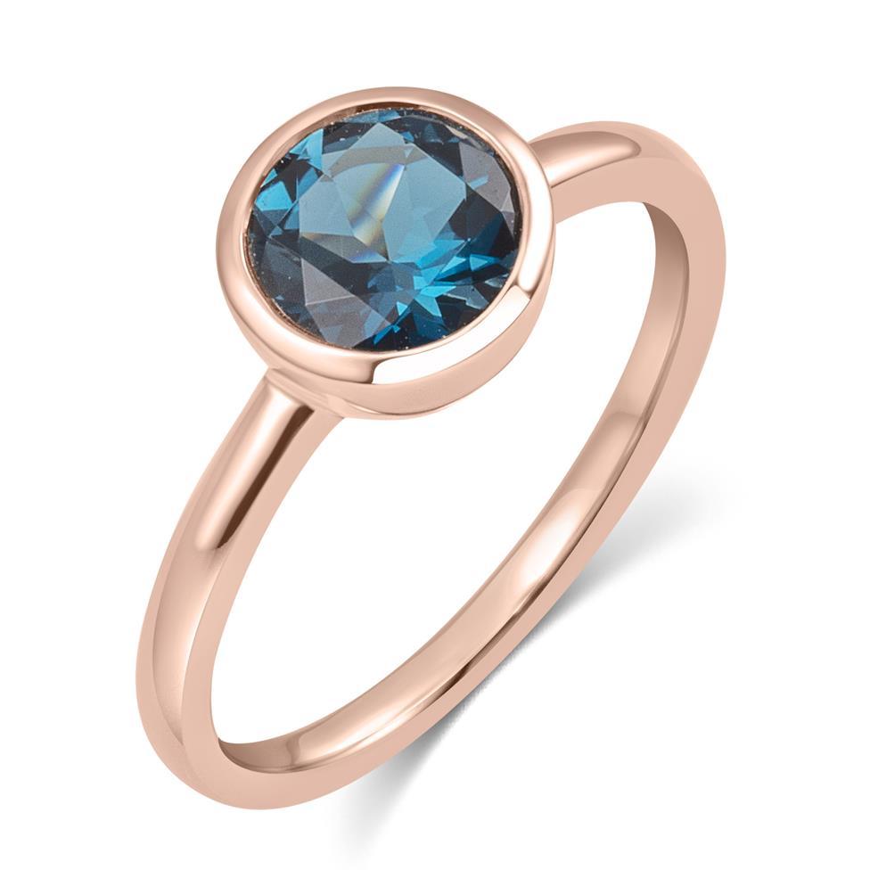 18ct Rose Gold London Blue Topaz Rubover Dress Ring Thumbnail Image 0